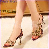 Wholesale 2014 summer fashion diamond women sandals genuine leather rhinestone shoes luxury sheepskin sexy crystal high heeled shoes LX001