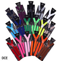 Wholesale Candy Color Unisex Mens Womens children s Clip on Adjustable Braces Elastic Y back Suspenders Colors For Choosing