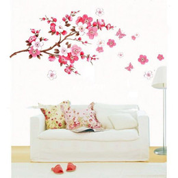 2017 wall decal cherry blossom Large Cherry Blossom Flower Wall Art Decal Vinyl Sticker Removable DIY cheap wall decal cherry blossom