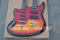 Red Solid Left-handed Left hand Double neck guitar 4 strings bass & 6 strings electric guitar 2014 New Style