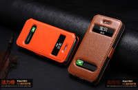 Wholesale Flip Leather Case Open Window stand Cover for iphone S