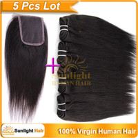 "Brazilian Hair Straight Sunlighthair Top Lace Closure With Bundles Free Silk Base Closure Swiss Lace(4""x4"") 4Pcs Brazilian Virgin Hair Straight 10""-26"" Natural Black 1B#"