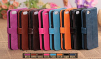 Wholesale Wallet Leather Case stand Cover With Credit Card Holder For iphone S