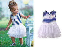 TuTu Summer Pleated Kids Clothing Layered Dress Children Blue Stripe Dresses Baby Summer Dress Jumper Skirt Fashion Bowknot Princess Dress Girls Cute Dresses