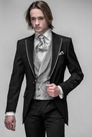 Custom Made best cashmere - Custom Made Slim Fit Groom Tuxedos Black Best man Peak Lapel Groomsman Men Dinner Wedding Suits Bridegroom Jacket Pants Tie Vest J334