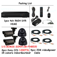 Wholesale Sony TVL bullet Cameras home video Surveillance System Nightvision CCTV System ch H DVR ipad iphone remote surveillanc