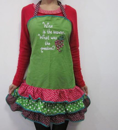 Wholesale Ladies Wine the answer what was the question high quality cotton embroided E Frill Apron