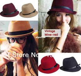 Wholesale 2013 New Trendy Autumn Winter Womens Mens Unixex Wool Equestrian Cap Leather Bowknot Fedoras Panama Felt Trilby Jazz Hat