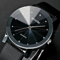 Wholesale Classical SINOBI Diamond Crystal Silver Case Elegant All Black Men Quartz Wrist Gift Dress Men s Leather Strap Watch SNB021