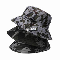 Wholesale 3colors bag Cotton Vogue Unique Camouflage Hat Outdoors Jungle Sunscreen Unisex Bucket Hat DUR1