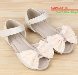 Wholesale Hot Selling Pairs Girls Summer Shoes Kids Fashion Sandals with Bow Children Sandals Kids Shoes Pink Beige t t AL14022526