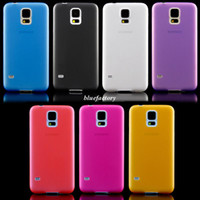 For Samsung Plastic White Ultra Thin Slim Case for Samsung Galaxy S5 i9600 Matte Clear Placstic Phone Case Back Cover Colorful Wholesale free shipping
