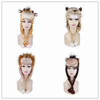 Wholesale 4pcs Women Cute Cartoon Animal Style Soft Fuzzy Popular Warm Hat Earmuff Ear Flap Cap DJE