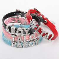 Wholesale Lefdy New small cat Personalized Collar with Rhinestone Customized Free Name Diamond