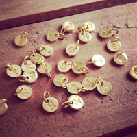 initial charms - 10pcs Letters Stamped Initial Charm K GOLD Plated Copper cm Round Disc Monogram Letter Alphabe