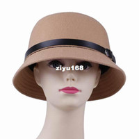 Wholesale 10pcs bag Korean Style Autumn amp Winter Khaki Color Woolen Hat Lady Small Dome Cap Vintage Bowler Top Basin Hat DLZ2