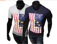 Wholesale new s2014 new American flag t shirt printing fashion casual T shirt T shirt Slim