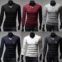 Men Polo Tops Free Shipping New Pattern Slim Fit Men'sT Shirt V-neck Collar Polo Shirt Long Sleeve Shirts for Men Size M-XXL 10T28