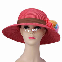 Wholesale 5pcs Watermelon Red Straw Chiffon Charms Colorful Flower Natural Women Brim Outdoors Beach Sun Hat Cap DVY6