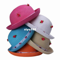 Girl Summer Crochet Hats 5Colors bag Free Shipping Straw Fashion Rose Floral Decor Ribbon Kids Child Beach Sun Hat DVO1-5