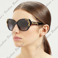 PC Fashion Butterfly Wholesale - TOP Quality Women Vintage Glam Butterfly Sunglasses Metal Roses Glasses Oversized S-012
