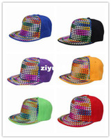 acrylic canvas - 6Colors bag Canvas Acrylic Rivets Rainbow Chic Punk Style High Unisex Adults Sports Baseball Hat Cap DVS1