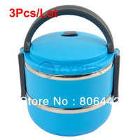 Ceramic Dinnerware Sets Stocked Hot Sale 3Pcs Lot Double Layer Stainless Steel Children Lunch Box 1.4L Keep Warm Food Container For Kids Blue 15040