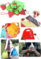 Wholesale Portable Cute Strawberry Foldable Bags Eco Reusable Shopping Tote Bag K07448