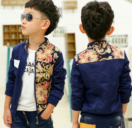 Wholesale Spring New Arrival Vintage Flowers Printed Long Sleeve Children Boys Casual Blue Jackets Outwears Kids Fashion Zipper Coats B3343