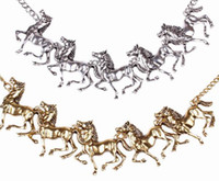 horse jewelry - Fashion Lady Alloy Necklace Stylish All match Horse Decorated Choker Pendant Necklace Charms Jewelry Gift GIE