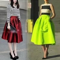 Wholesale 2014 Newest Fashion Vintage Retro Womens High Waist Elastic Flared Skater Pleated Skirt A1