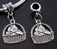 Metals   120pcs Tibetan Silver Baby Cat In Basket Dangle Charms Beads fit European Bracelet 25X16mm