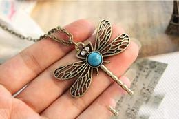 По продажам Vintage животное ожерелье Стрекоза кулон античная новое очарование ожерелье подарок дешевые ювелирные изделия