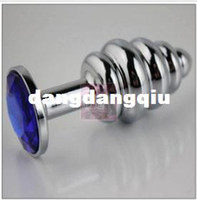 Wholesale stainless steel screw Mini Anal Toys Butt Plug metal Penis metal dildo Stainless Steel Crystal Jewelry Sex Toys
