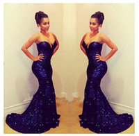 Wholesale Sparkling Sweetheart Sleeveless Mermaid Long Deep Blue Sequined Lace Prom Dresses evening dress Short Trailing