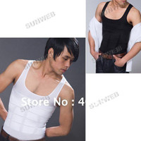 Coats Men Cotton coats 2014 fashion New 1pc Black White Color Men's Top Vest Tank Top Slimming Shirt Corset Fatty 3247