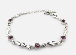 Wholesale Pink crystal bracelet anklet bell claw foot chain silver jewelry MG2