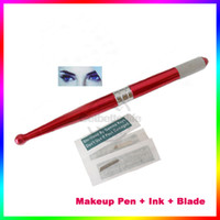beauty permanent - Permanent Manual Tattoo Permanent Makeup Pen with blades WM XN001 Tattoo Makeup Set eyebrow beauty