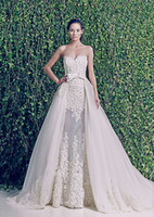 A-Line 2014 Sheer Bridal Jacket - Novias Customer Made Zuhair Murad Wedding Dresses with Detachable Jacket and Train Sweetheart Vintage Bridal Gown
