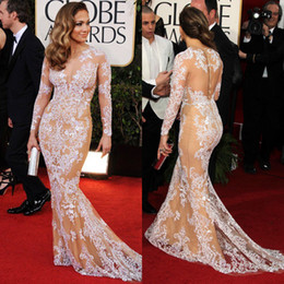 Oscar Sexy Zuhair Murad Jennifer Lopez Lace Sheer Mermaid Prom Dresses Long Sleeve Evening Gowns Cocktail  Celebrity Red Carpet Dresses