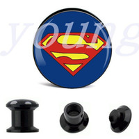 Wholesale Superman Ear Tunnels - Fashion design black acrylic superman ear tunnel plugs body jewelry piercing 6-25mm 60pcs lot AE-0200
