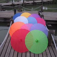 Wholesale 2014 new cm of Plain Fabric bamboo Parasol umbrella white red yellow color choose