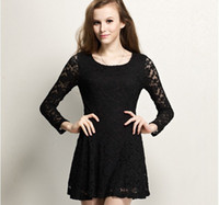 Casual Dresses Round Mini New Sexy Women Ladies Casual Clothing Long Sleeved Dresses Cute Casual Dress Chiffon Lace Top Dress Spring 2014