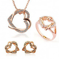 Wholesale Full of diamond necklace wrapped double peach heart earrings three piece ring hitch your heart Swarovski Elements Jewelry Set z111