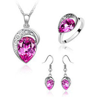 Wholesale hot Austrian crystal earrings necklace and Ring Set mood Swarovski Elements Jewelry Set z112