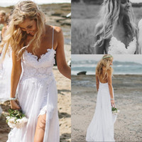 Wholesale 2014 Lace White Ivory Spaghetti Beach Hi Lo Chiffon Backless Wedding Dresses Sexy Hi Lo Lace Backless Prom Dress Wedding Dresses