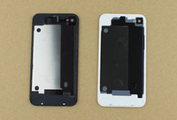 Wholesale black white for iphone4 S GSM cdma back glass battery cover housing door replacement parts