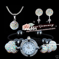 Wholesale HIigh Quality Shamballa AB White Crystal Watch Necklace amp Earring Set JEWELLRY Disco Ball Set Hotselling