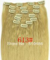 "Cheap Women Hot New Fashion Women 613# color 20"" 22""100g Clip In Human Hair Extensions Brazilian Remy Virgin Hairpiece Free Shipping"