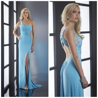 Cheap 2014 New Arrival Beads One Shoulder Strap Sexy Backless Split Side Aqua Party Prom Dress Evening Special Occasion Formal Dresses Gowns
